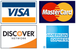 We accept Visa, MasterCard, Discover, American Express, and Paypal through a secure SSL connection.